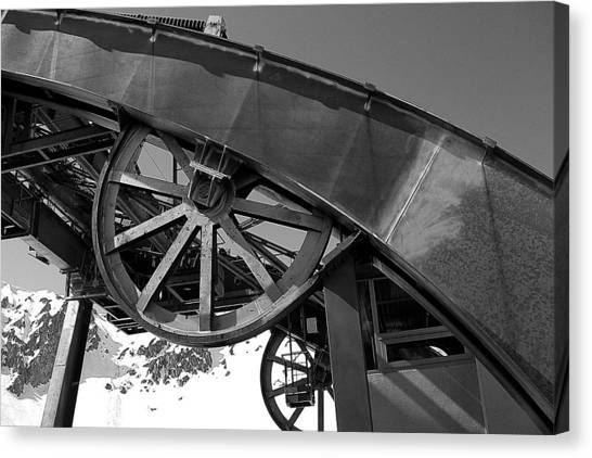 Guide Wheel Of An Old Cablecar In France Canvas Print