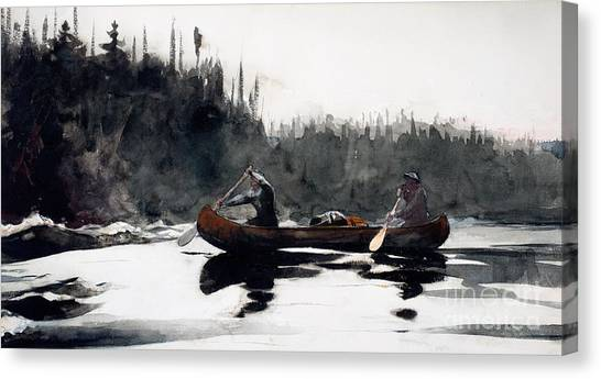Canoe Canvas Print - Guides Shooting Rapids by Winslow Homer