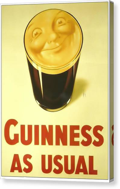 St. Patricks Day Canvas Print - Guinness As Usual by Georgia Fowler