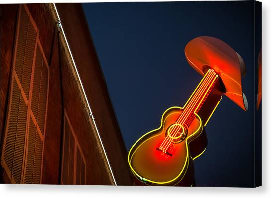 Guitar And Hat Canvas Print