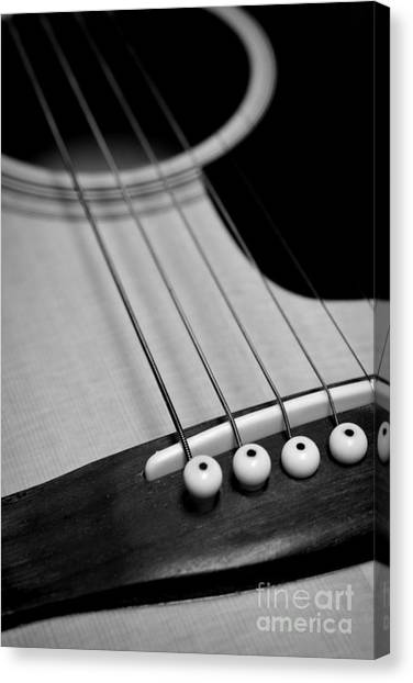 Guitar Picks Canvas Print - Guitar Bridge In Black And White by Paul Ward