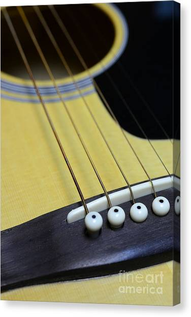 Guitar Picks Canvas Print - Guitar Bridge Up Close And Personal by Paul Ward