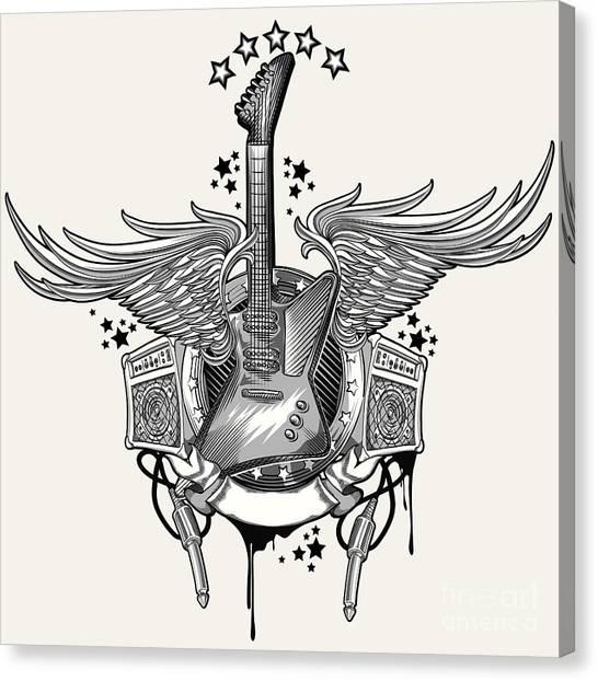Imagery Canvas Print - Guitar Emblem by Alex bond