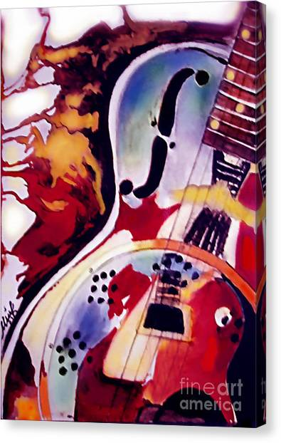 Acoustic Guitars Canvas Print - Guitar Flow by Melanie D