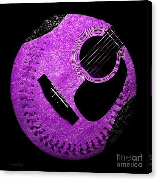 Hardball Canvas Print - Guitar Grape Baseball Square by Andee Design