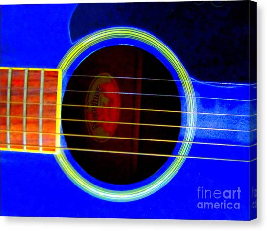 Corde Canvas Print - Guitar Hole And Strings by Roberto Gagliardi