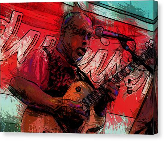 Guitar Jazz Player Canvas Print