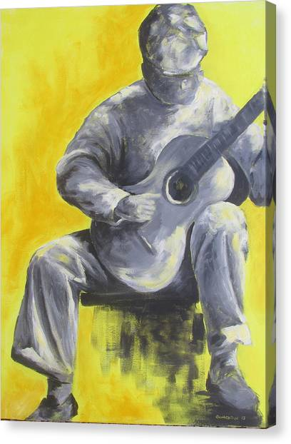 Classical Guitars Canvas Print - Guitar Man In Shades Of Grey by Susan Richardson