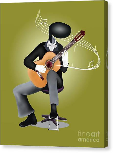 Classical Guitars Canvas Print - Guitar Man Playing Guitar With Musical Notes And Sound Waves by Iam Nee