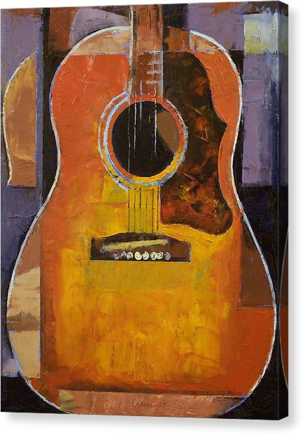 Cubism Canvas Print - Guitar by Michael Creese