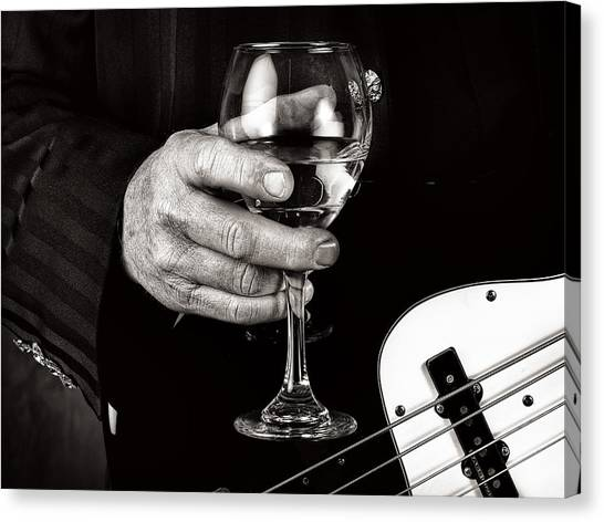 Guitar Player And A Glass Of Wine Canvas Print