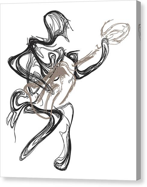 Pen And Ink Drawing Canvas Print - Guitar Player by Michael Lee