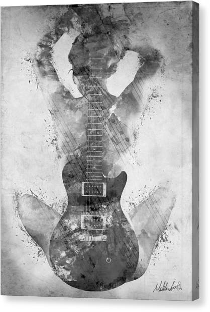 Rock Music Canvas Print - Guitar Siren In Black And White by Nikki Smith