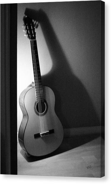 Guitar Still Life In Black And White Canvas Print