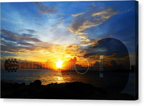 Acoustic Guitars Canvas Print - Guitar Sunset - Guitars By Sharon Cummings by Sharon Cummings