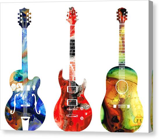 Guitars Canvas Print - Guitar Threesome - Colorful Guitars By Sharon Cummings by Sharon Cummings