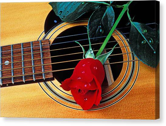 Red Roses Canvas Print - Guitar With Single Red Rose by Garry Gay