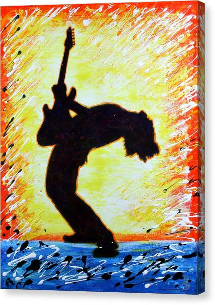 Guitarist Rockin' Out Silhouette Canvas Print