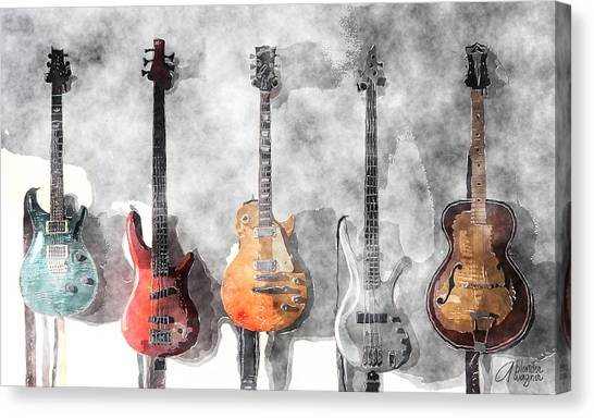 Electric Guitars Canvas Print - Guitars On The Wall by Arline Wagner