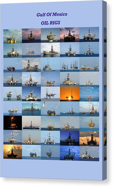Gulf Of Mexico Oil Rigs Poster Canvas Print