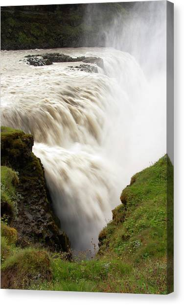Gullfoss Golden Waterfall On River Canvas Print by Martin Moos