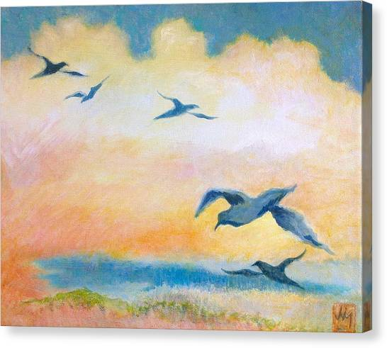 Gulls At Sunset Canvas Print by Julia Miller