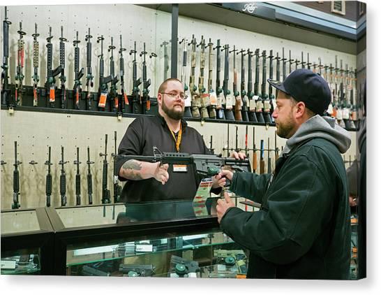 Gun Control Canvas Print - Gun Store by Jim West