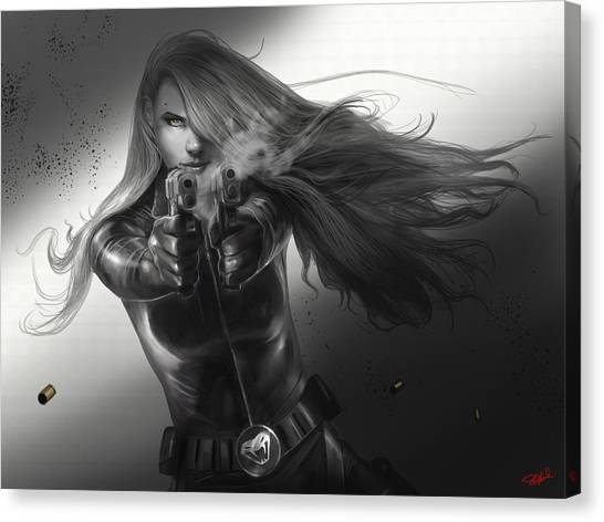 Black Widow Canvas Print - Gunslinger by Steve Goad