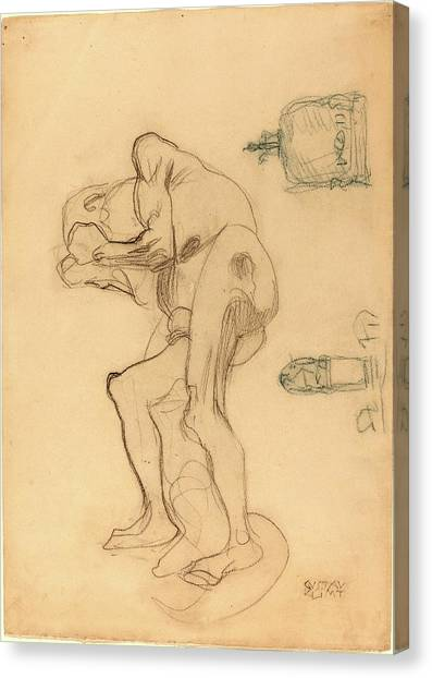 Gustav Klimt, Study Of A Nude Old Woman Clenching Her Fists Drawing ...