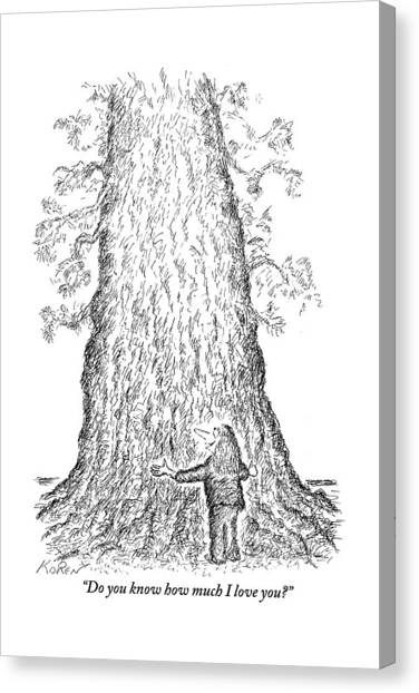 Tree Canvas Print - Guy Hugging A Giant Tree And Speaks To It by Edward Koren