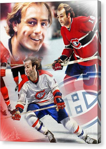 Montreal Canadiens Canvas Print - Guy Lafleur Collage by Mike Oulton