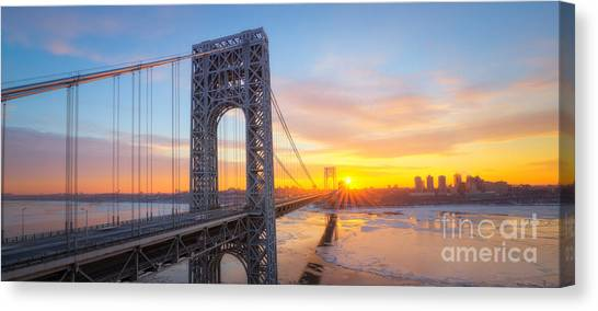 Mv Canvas Print - Gw Bridge Panorama Sunburst  by Michael Ver Sprill
