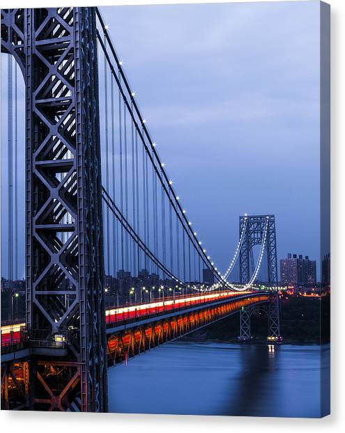 Gwb From Fort Lee Canvas Print by Chris Halford