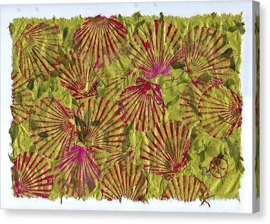 Gyotaku Scallops - Christmas Bushel - Holiday Shellfish Canvas Print