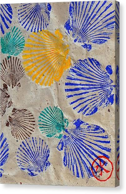 Gyotaku Scallops - Shellfish Apetite Sushi Canvas Print