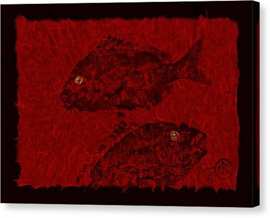 Gyotaku Scup Series 4 Red Unryu Paper Canvas Print