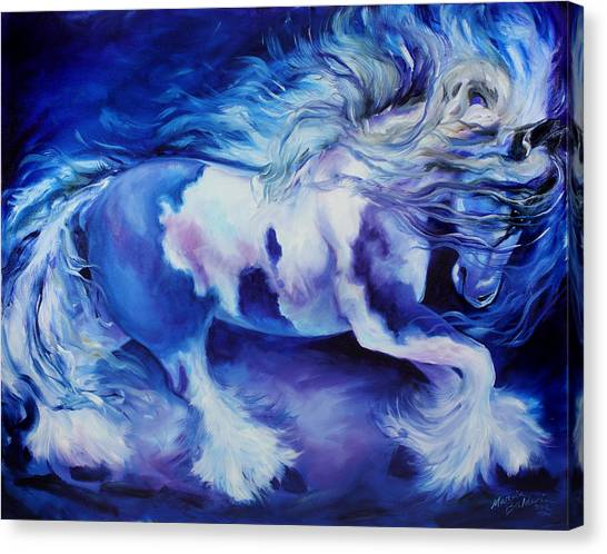 Gypsy Vanner In Blue Canvas Print