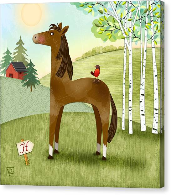 H Is For Henry The Horse Canvas Print