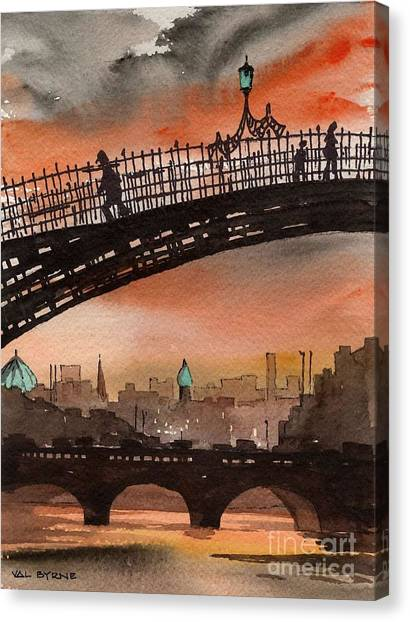Bridge Canvas Print - F 763 Ha Penny Bridge  Dublin 1 by Val Byrne