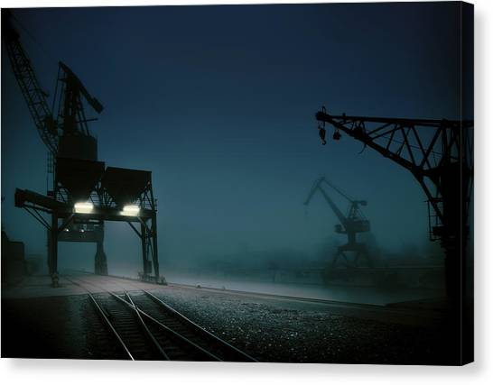 Cranes Canvas Print - Habour At Night by Hans Bauer