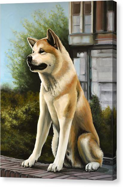 Huskies Canvas Print - Hachi Painting by Paul Meijering