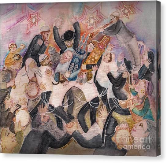Hachnasat Sefer Torah 1 Canvas Print by Chana Helen Rosenberg
