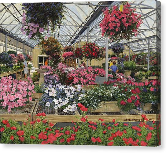 Flower Shop Canvas Print - Spring Flowers Haefner's Garden Center Hanging Baskets by Don  Langeneckert