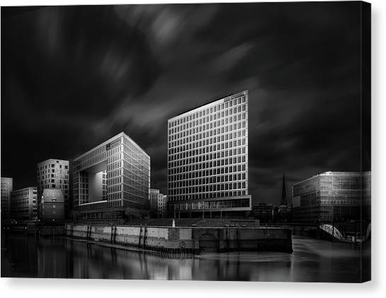 Modern Architecture Canvas Print - Hafencity And Spiegel Office Building by Matthias Hefner
