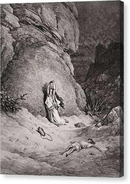 Holy Bible Canvas Print - Hagar And Ishmael In The Desert by Gustave Dore