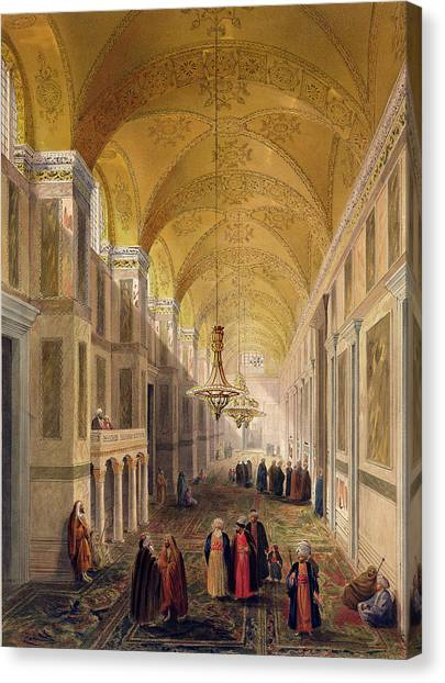 Byzantine Art Canvas Print - Haghia Sophia, Plate 2 The Narthex by Gaspard Fossati