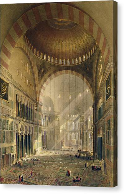 Byzantine Art Canvas Print - Haghia Sophia, Plate 24 Interior by Gaspard Fossati