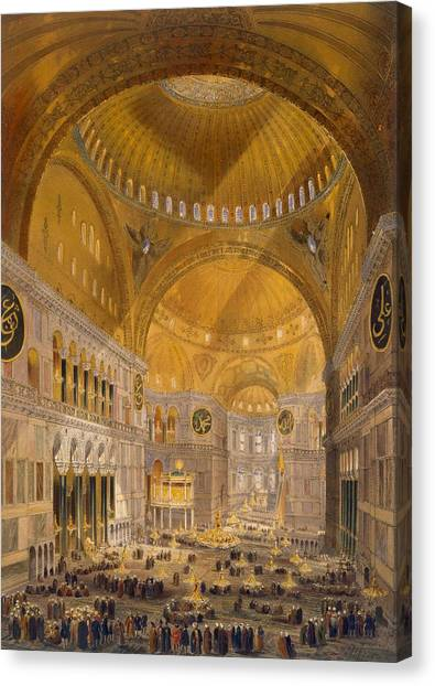 Muslim Canvas Print - Hagia Sophia, Constantinople, 1852 by Gaspard Fossati