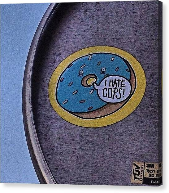 Doughnuts Canvas Print - Haha! #doughnut #donut #yum #sticker by Emily Hames