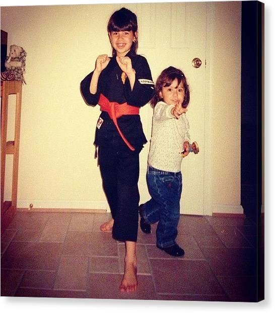 Karate Canvas Print - Haha #tbt When My Sister Was Tryna Be by Gabriella Molina